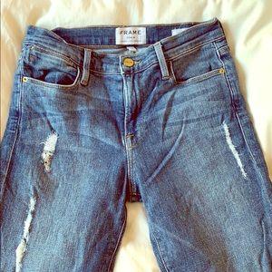 Frame Le High skinny with step hem jeans size 26.